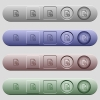 Document protect icons on horizontal menu bars - Document protect icons on rounded horizontal menu bars in different colors and button styles
