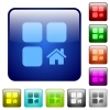 Default component color square buttons - Default component icons in rounded square color glossy button set