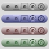 Euro financial report icons on horizontal menu bars - Euro financial report icons on rounded horizontal menu bars in different colors and button styles