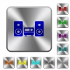Stereo system rounded square steel buttons - Stereo system engraved icons on rounded square glossy steel buttons