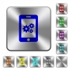 Smartphone settings rounded square steel buttons - Smartphone settings engraved icons on rounded square glossy steel buttons