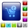 Checkout with Rupee cart color square buttons - Checkout with Rupee cart icons in rounded square color glossy button set