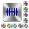 Graphical equalizer rounded square steel buttons - Graphical equalizer engraved icons on rounded square glossy steel buttons