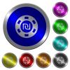 New Shekel casino chip luminous coin-like round color buttons - New Shekel casino chip icons on round luminous coin-like color steel buttons