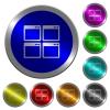 Mosaic window view mode luminous coin-like round color buttons - Mosaic window view mode icons on round luminous coin-like color steel buttons