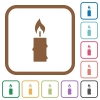 Burning candle with melting wax simple icons - Burning candle with melting wax simple icons in color rounded square frames on white background
