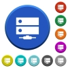 Network drive beveled buttons - Network drive round color beveled buttons with smooth surfaces and flat white icons