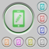 Smartphone memo push buttons - Smartphone memo color icons on sunk push buttons