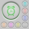 Alarm clock push buttons - Alarm clock color icons on sunk push buttons