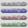Radio signal icons on rounded horizontal menu bars in different colors and button styles - Radio signal icons on horizontal menu bars