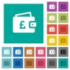 Pound wallet square flat multi colored icons - Pound wallet multi colored flat icons on plain square backgrounds. Included white and darker icon variations for hover or active effects.