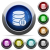 Database macro pause round glossy buttons - Database macro pause icons in round glossy buttons with steel frames