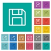 Floppy disk as save symbol square flat multi colored icons - Floppy disk as save symbol multi colored flat icons on plain square backgrounds. Included white and darker icon variations for hover or active effects.