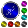 Launched rocket luminous coin-like round color buttons - Launched rocket icons on round luminous coin-like color steel buttons