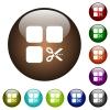 Cut component color glass buttons - Cut component white icons on round color glass buttons