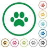 Paw prints flat icons with outlines - Paw prints flat color icons in round outlines on white background