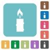 Burning candle with melting wax white flat icons on color rounded square backgrounds - Burning candle with melting wax rounded square flat icons