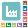 Factory building rounded square flat icons - Factory building white flat icons on color rounded square backgrounds