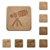 Space telescope wooden buttons - Space telescope on rounded square carved wooden button styles