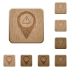 GPS map location warning wooden buttons - GPS map location warning on rounded square carved wooden button styles