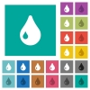 Drop square flat multi colored icons - Drop multi colored flat icons on plain square backgrounds. Included white and darker icon variations for hover or active effects.
