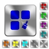 Component paste rounded square steel buttons - Component paste engraved icons on rounded square glossy steel buttons