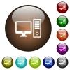Desktop computer color glass buttons - Desktop computer white icons on round color glass buttons