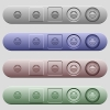 Laughing emoticon icons on rounded horizontal menu bars in different colors and button styles - Laughing emoticon icons on horizontal menu bars