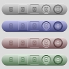 Mobile mark icons on horizontal menu bars - Mobile mark icons on rounded horizontal menu bars in different colors and button styles