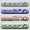 Application maintenance icons on horizontal menu bars - Application maintenance icons on rounded horizontal menu bars in different colors and button styles