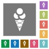 Ice cream square flat icons - Ice cream flat icons on simple color square backgrounds