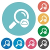 Cloud search flat round icons - Cloud search flat white icons on round color backgrounds