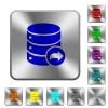 Database transaction commit rounded square steel buttons - Database transaction commit engraved icons on rounded square glossy steel buttons