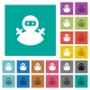 Ninja avatar multi colored flat icons on plain square backgrounds. Included white and darker icon variations for hover or active effects. - Ninja avatar square flat multi colored icons