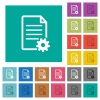 Document setup multi colored flat icons on plain square backgrounds. Included white and darker icon variations for hover or active effects. - Document setup square flat multi colored icons