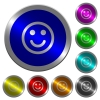Smiling emoticon icons on round luminous coin-like color steel buttons - Smiling emoticon luminous coin-like round color buttons