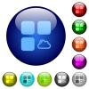 Cloud component color glass buttons - Cloud component icons on round color glass buttons