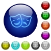 Comedy and tragedy theatrical masks color glass buttons - Comedy and tragedy theatrical masks icons on round color glass buttons
