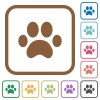 Paw prints simple icons - Paw prints simple icons in color rounded square frames on white background