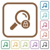 Search locked simple icons - Search locked simple icons in color rounded square frames on white background