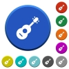 Acoustic guitar beveled buttons - Acoustic guitar round color beveled buttons with smooth surfaces and flat white icons