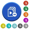 Playlist fast backward beveled buttons - Playlist fast backward round color beveled buttons with smooth surfaces and flat white icons