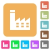 Factory building rounded square flat icons - Factory building flat icons on rounded square vivid color backgrounds.