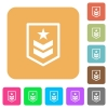 Military rank rounded square flat icons - Military rank flat icons on rounded square vivid color backgrounds.