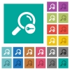 Secure search square flat multi colored icons - Secure search multi colored flat icons on plain square backgrounds. Included white and darker icon variations for hover or active effects.