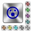 Shocked emoticon rounded square steel buttons - Shocked emoticon engraved icons on rounded square glossy steel buttons