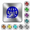 Worldwide rounded square steel buttons - Worldwide engraved icons on rounded square glossy steel buttons