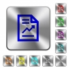 Report with graph rounded square steel buttons - Report with graph engraved icons on rounded square glossy steel buttons