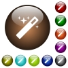 Magic wand color glass buttons - Magic wand white icons on round color glass buttons
