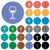 Glass of wine round flat multi colored icons - Glass of wine multi colored flat icons on round backgrounds. Included white, light and dark icon variations for hover and active status effects, and bonus shades on black backgounds.